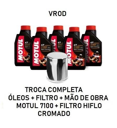 TROCA DE ÓLEOS - VROD - MOTUL 7100 - 20W50 - FILTRO CROMADO - OF36016