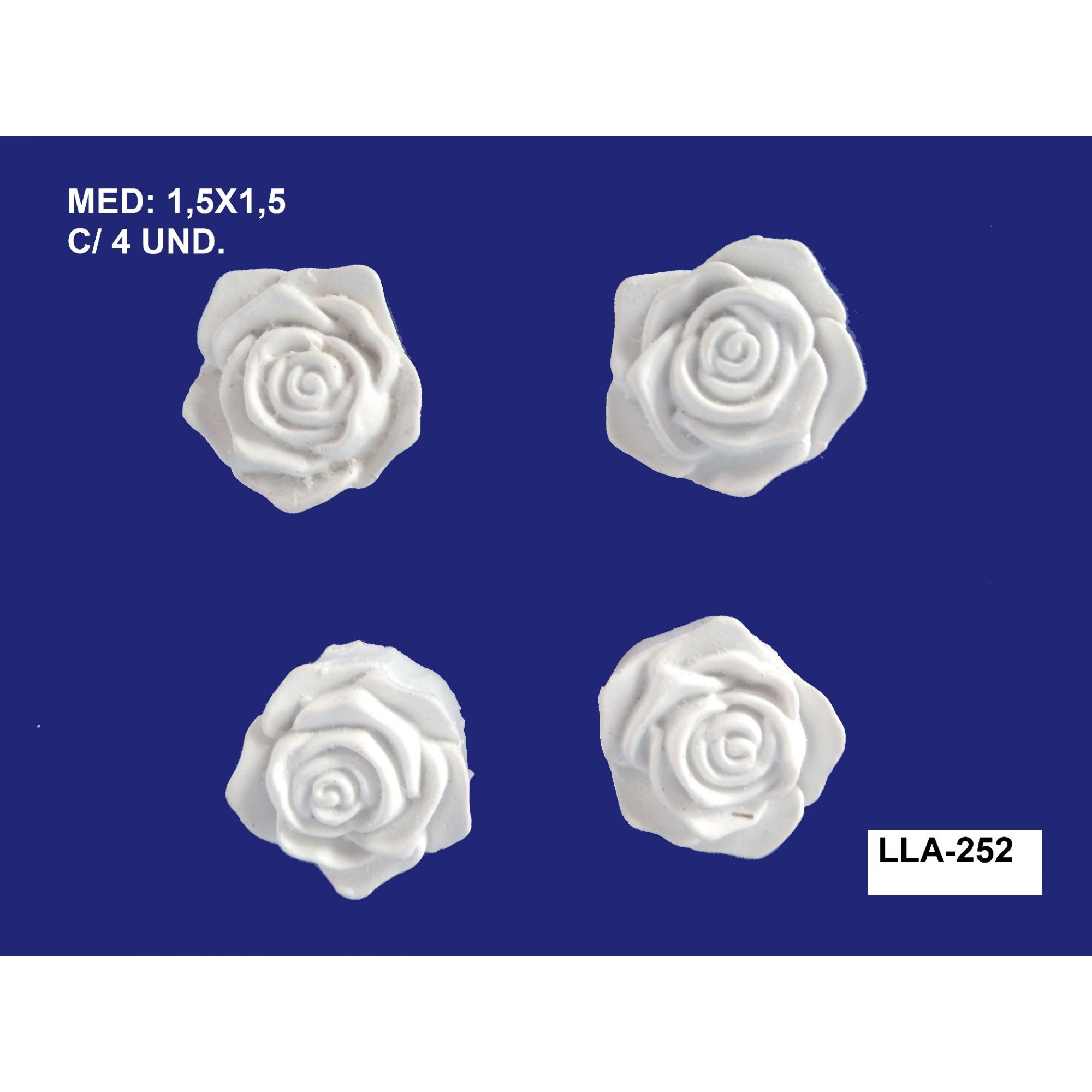 LLA-252 APLIQUE ROSAS MINI 1,5X1,5CM C/ 4 UND.