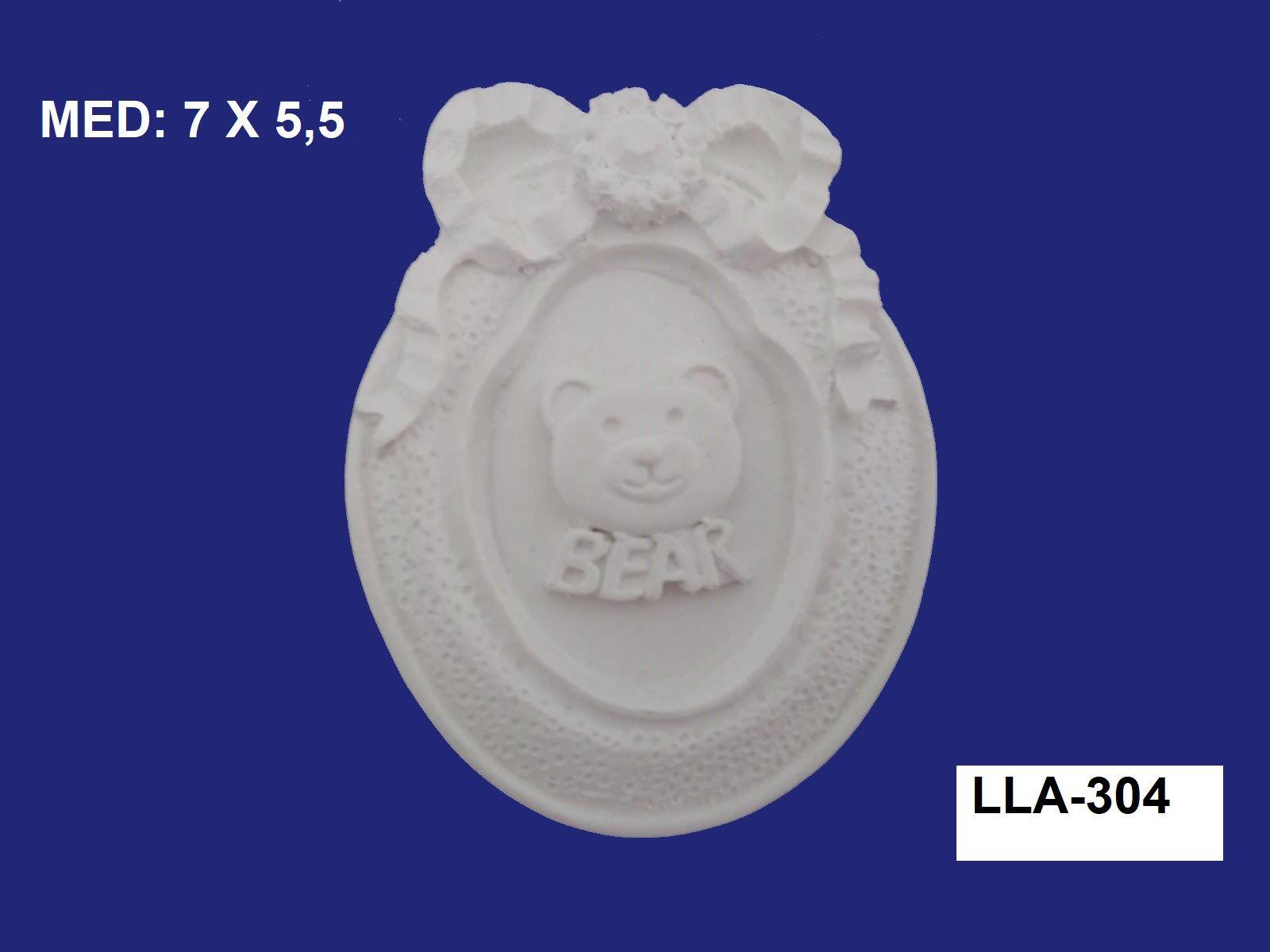 LLA-304 APLIQUE URSO NA MOLDURA 7X5,5CM