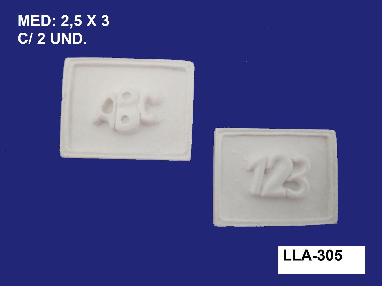 LLA-305 APLIQUE PLAQUINHA ABC E 123 2,5X3CM C/ 2 UND.