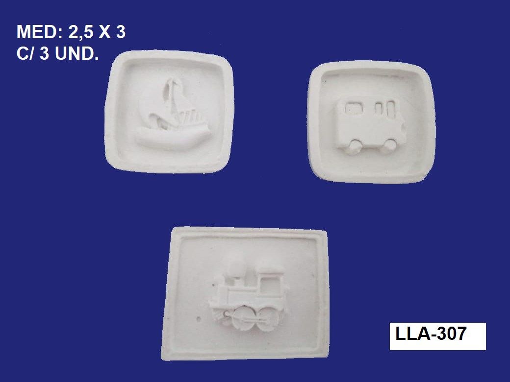 LLA-307 APLIQUE PLAQUINHA TRANSPORTE 2,5X3CM C/ 3 UND