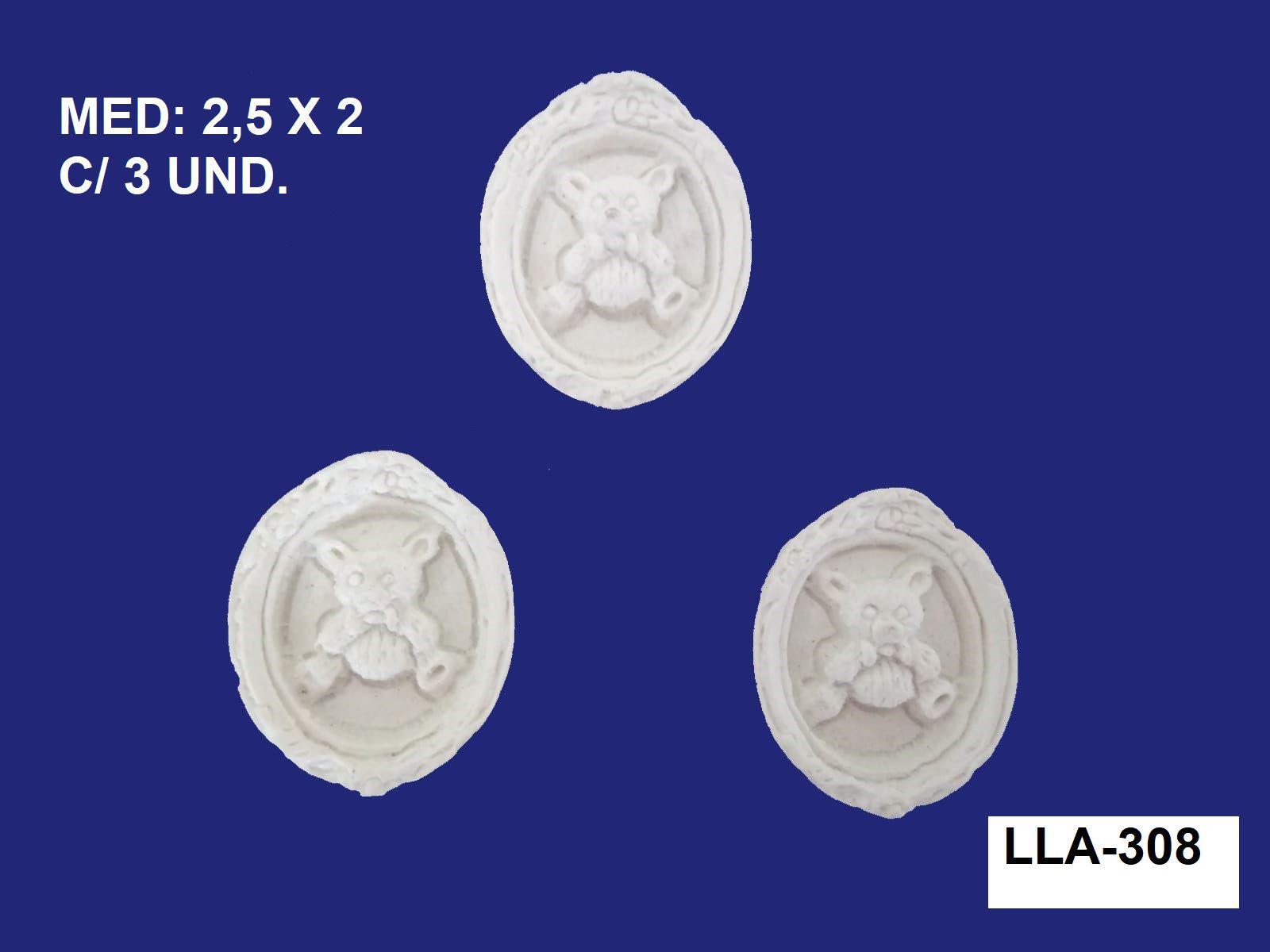 LLA-308 APLIQUE PLAQUINHA URSO 2,5X2CM C/ 3 UND.