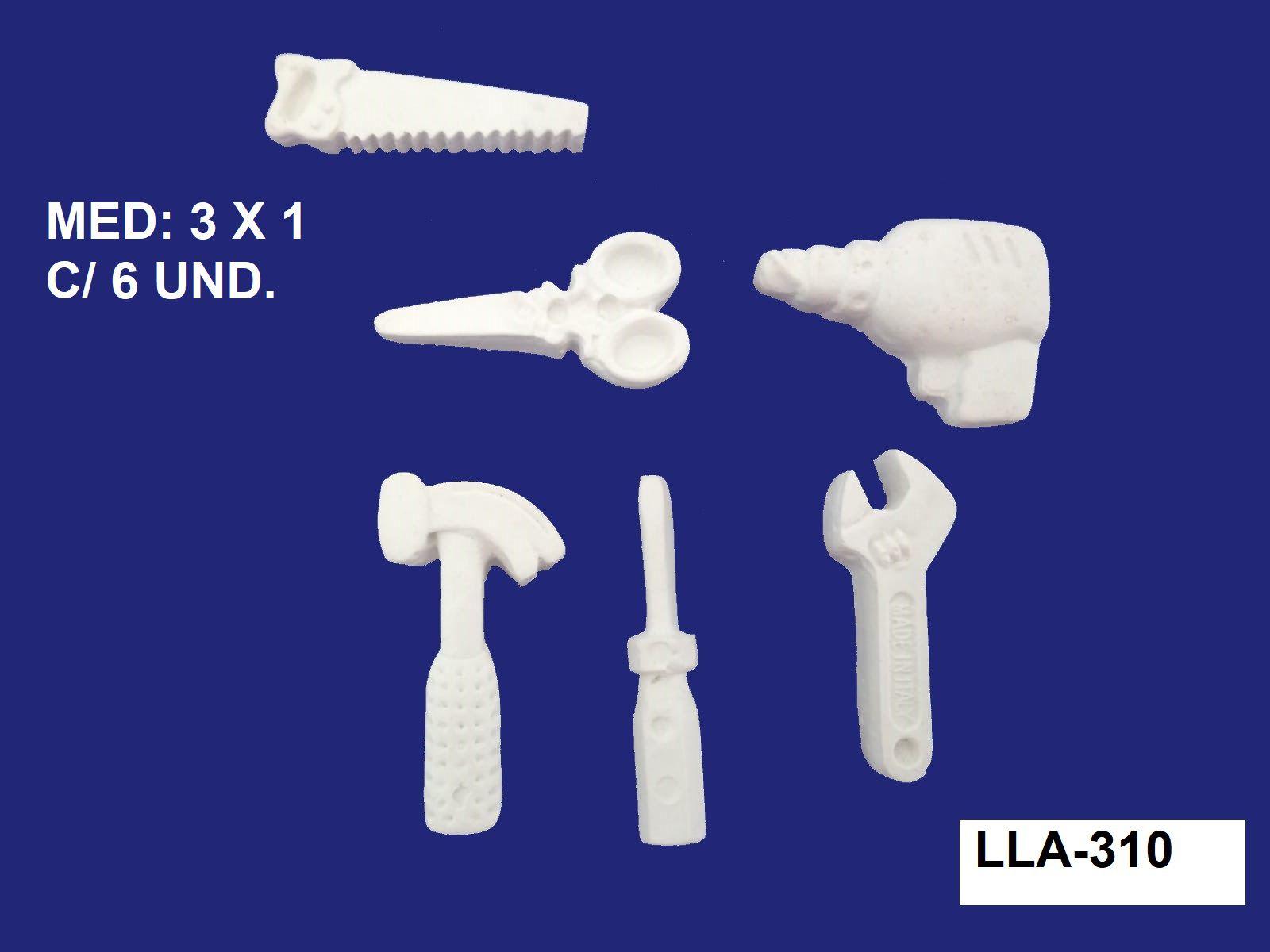 LLA-310 APLIQUE MINI FERRAMENTAS 3X1CM C/ 6 UND.