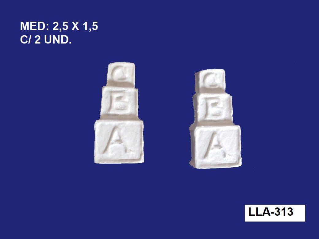 LLA-313 APLIQUE DADO ABC 2,5X1,5CM C/ 2 UND.