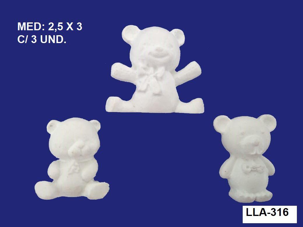 LLA-316 APLIQUE URSOS 2,5X3CM C/ 3 UND