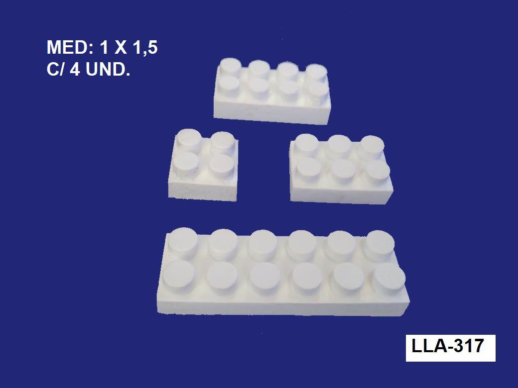 LLA-317 APLIQUE LEGOS 1X1,5CM  C/ 4 UND.