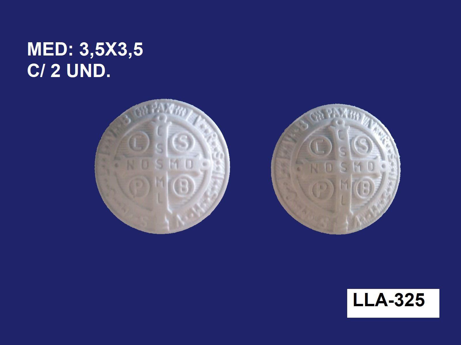 LLA-325 APL. MEDALHA DE SÃO BENTO CRUZ C/2 UND. 3,5X3,5CM