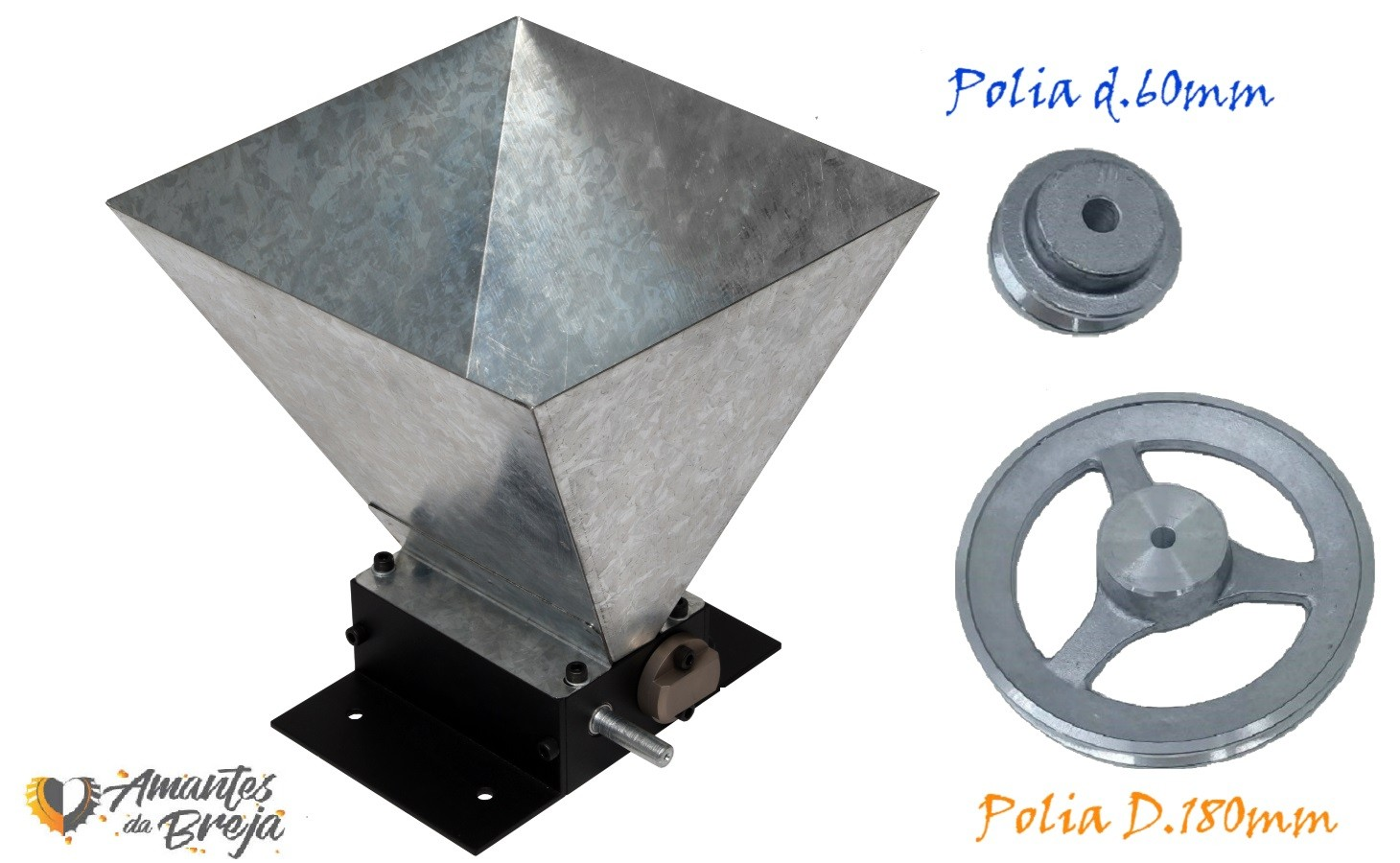 Moedor de Malte com Kit polia 60 e 180 mm