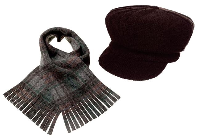 Conjunto Boina e Cachecol Tweed