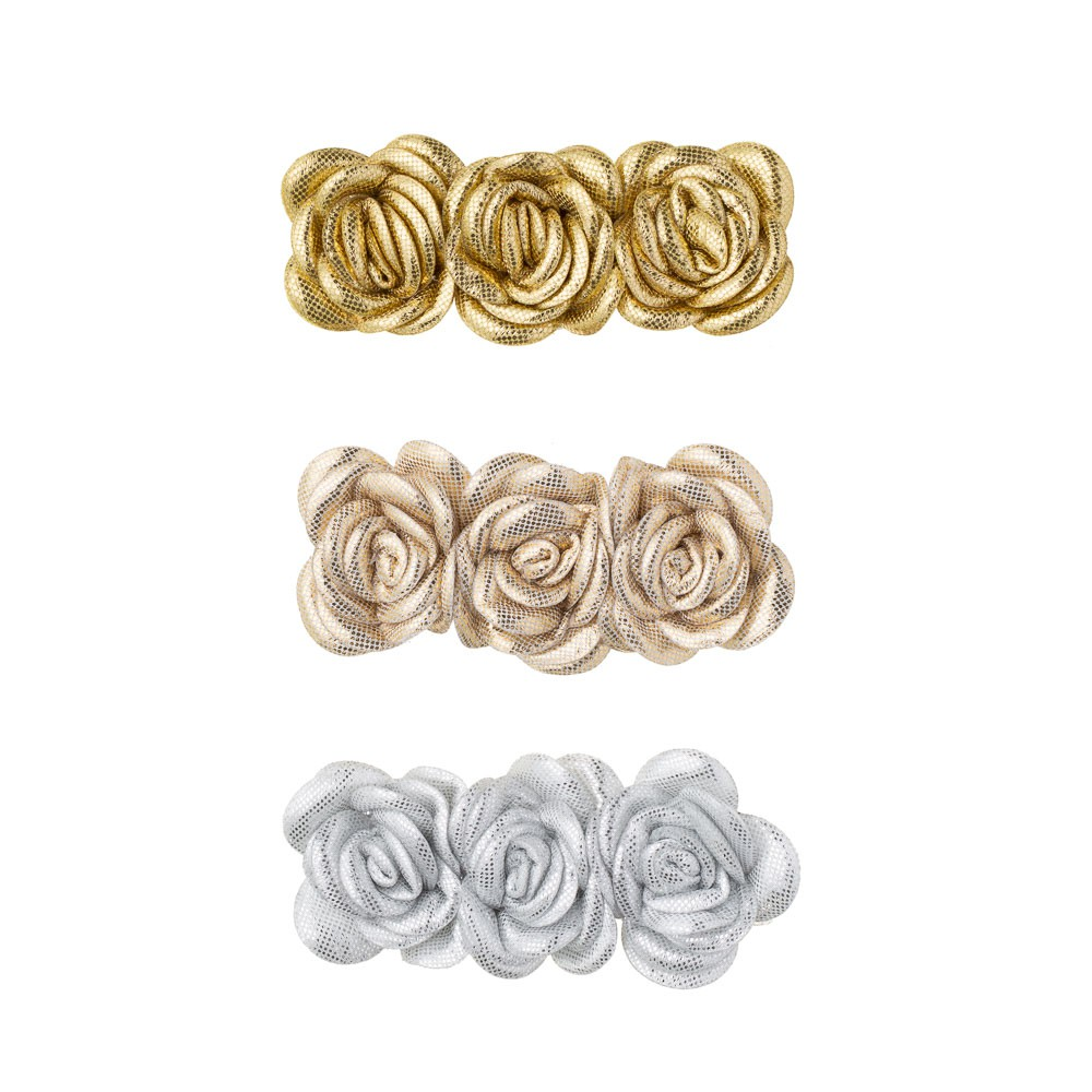 Conjunto Presilha Flores Metalizadas