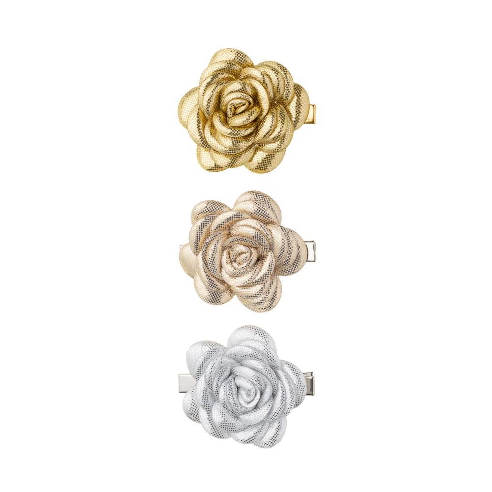 Conjunto Trio Presilhas Flores Metalizadas