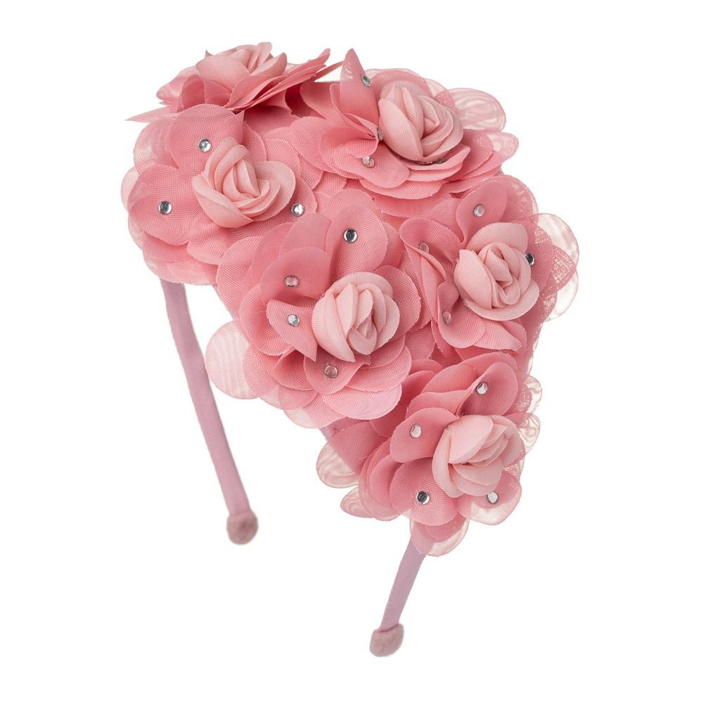 Tiara Casquete com Flores e Strass