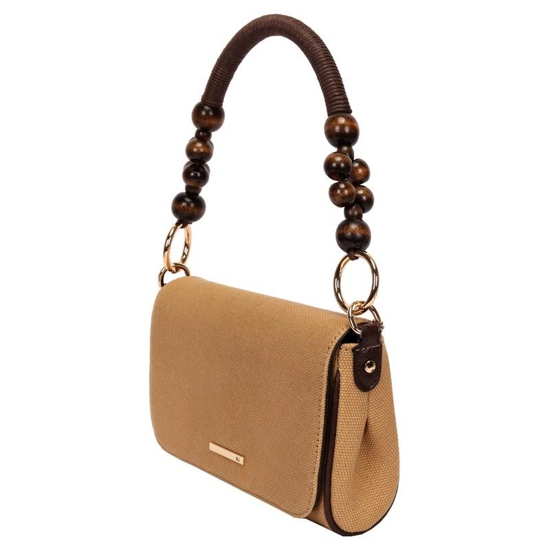 Bolsa com alça de ombro com detalhe em madeira