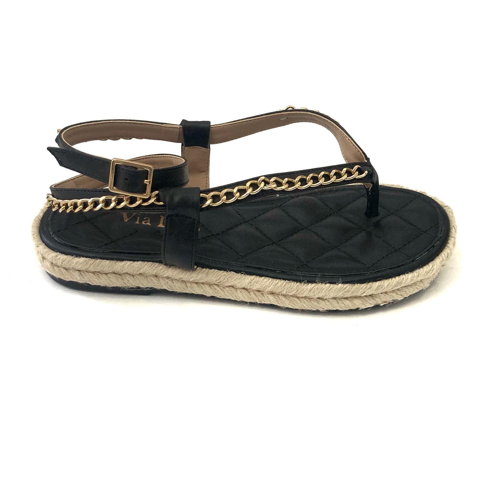 Sandália Flatform Corda e corrente