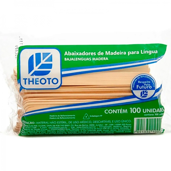 Palito Abaixador de Lingua Theoto - Espatula Depilação c/100 - Kit c/ 10 pac. (1000 unid)