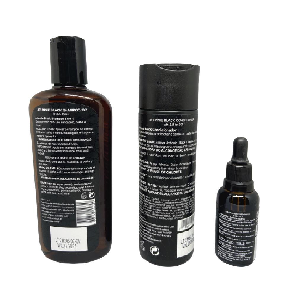 Shampoo 3x1 + Condicionador + Beard Oil - Johnnie Black