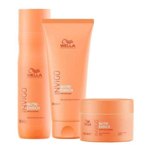 Wella Nutri Enrich - kit Shampoo 250ml+Condicionador 200ml+Mascara150ML