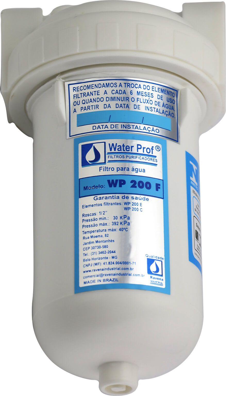 Filtro para água Ravena WP 200F com elemento filtrante de carvão e celulose