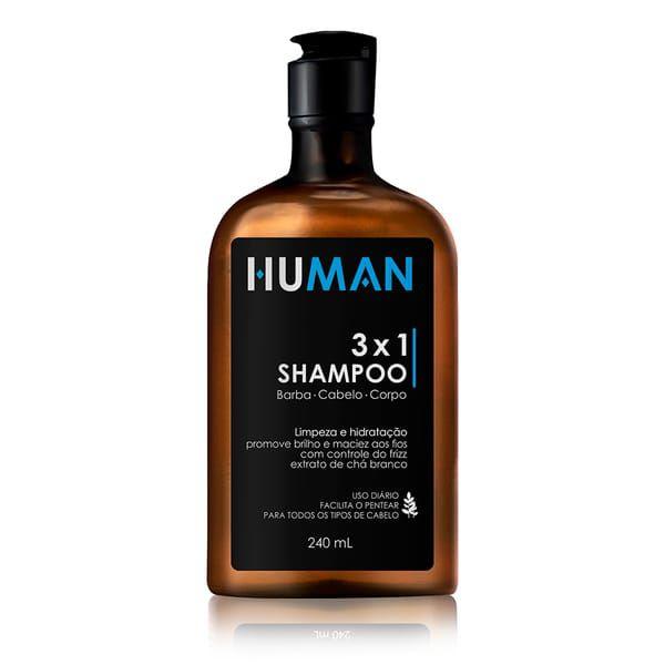 SHAMPOO 3X1 BARBA, CABELO E CORPO HUMAN - 240 ML