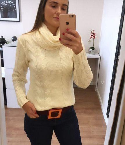 Blusa Trico Tricot Gola Alta Off White Blogueira Inverno 2020