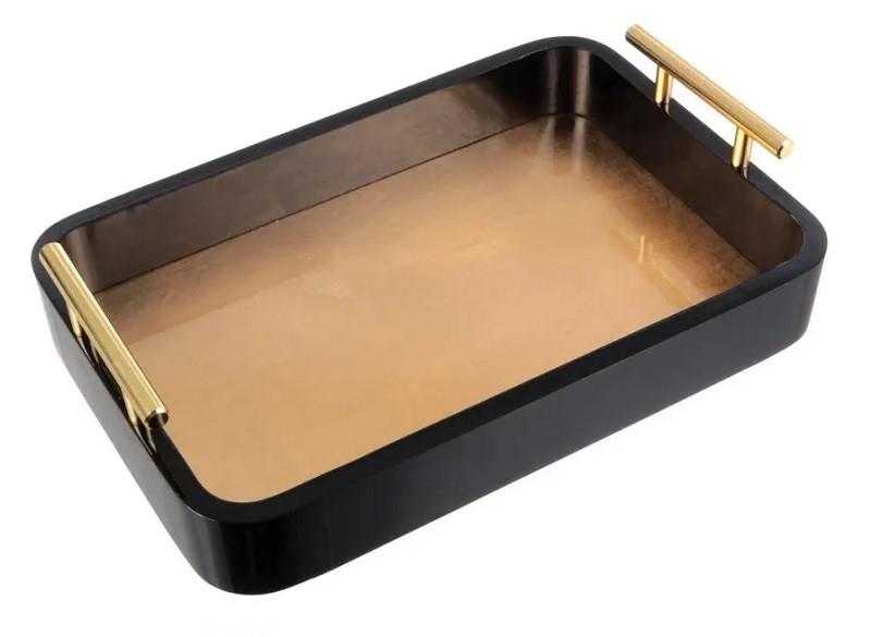 Bandeja Madeira Com Alça Dourada G