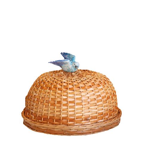 Boleira Natural Com Pássaro Azul