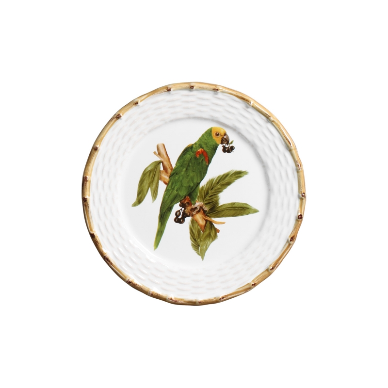 Jogo 06 Pratos de Sobremesa Tropical Birds