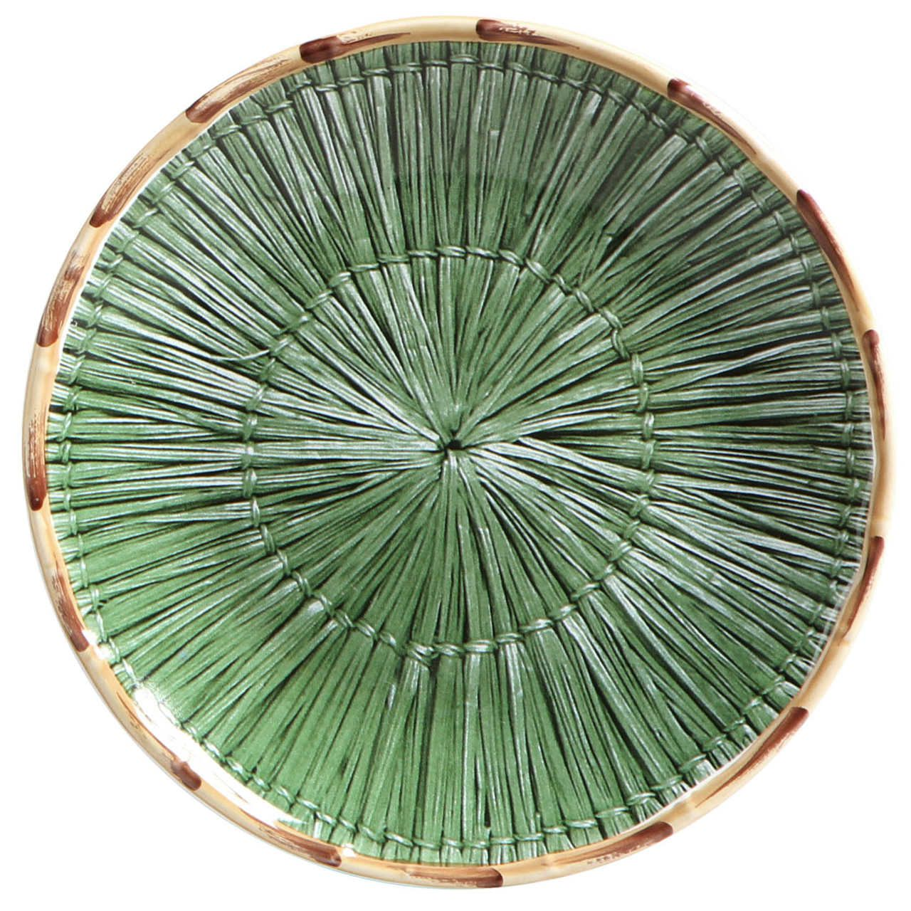 Jogo 06 Pratos Raso Palha Verde