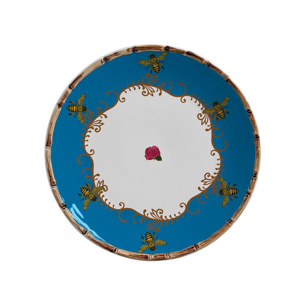 Jogo 06 Pratos Rasos Abeilles Azul