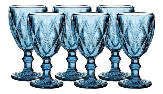 Jogo 06 Taças Água Azul Diamond