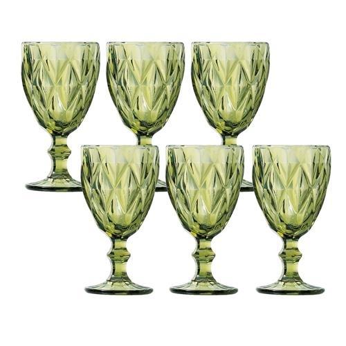 Jogo 06 Taças Água Diamond Verde
