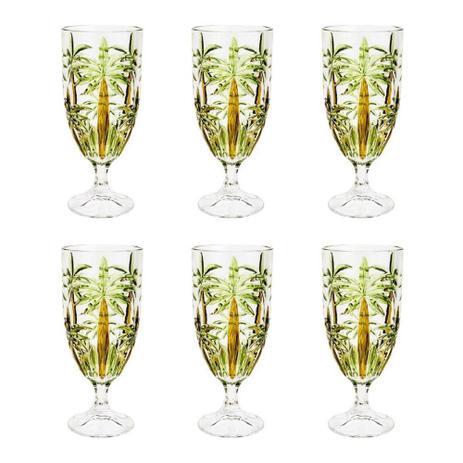 Jogo 06 Taças Palmeira Cristal Verde