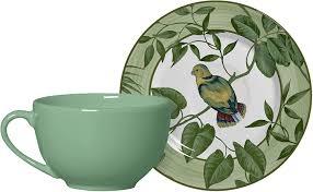 Jogo 06 Xícaras Chá Green Birds