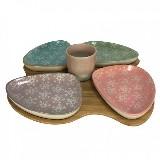 Petisqueira Bamboo E Ceramica C/04 Bowls