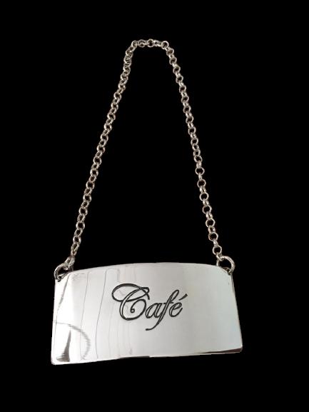 Plaquinha Café em Prata de Identificação