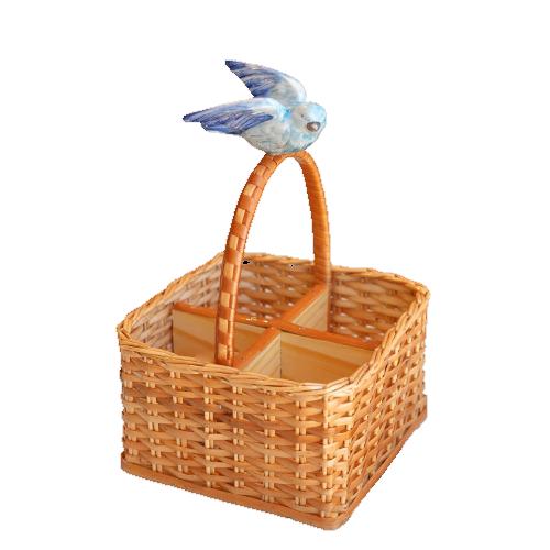 Porta Talher Com Pássaro Azul