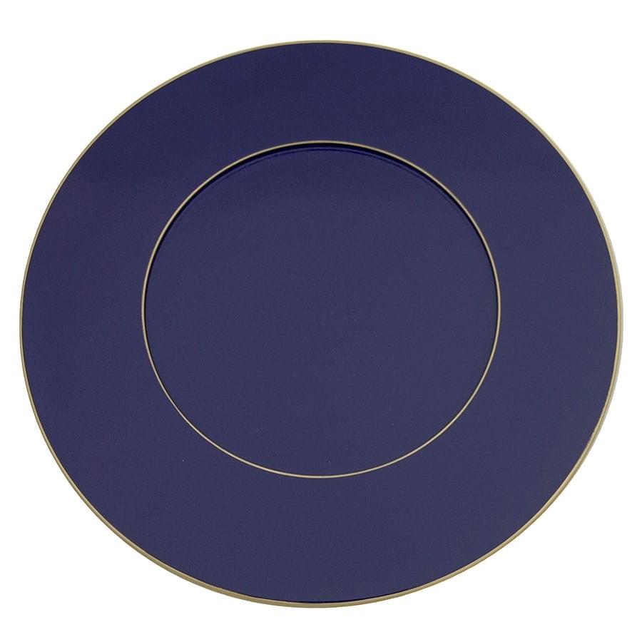 Sousplat Azul Bic Com Filete Dourado