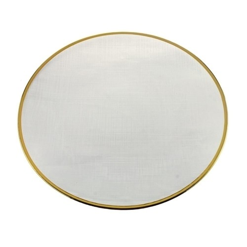 Sousplat Cristal Linen Borda Dourada