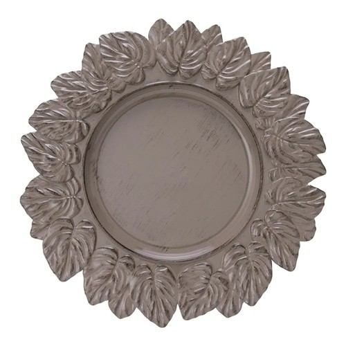 Sousplat Leaf Taupe Antique