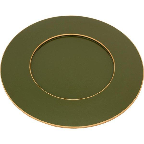 Sousplat Verde Exercito Com Filete Doura
