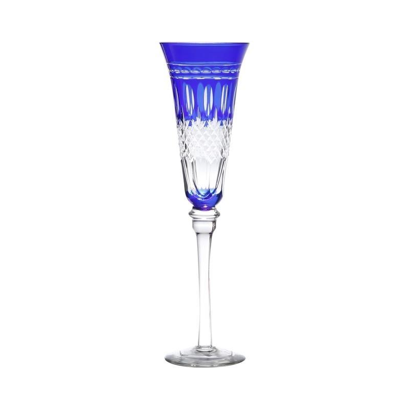 Taça de Champagne Lapidada Azul Unidade