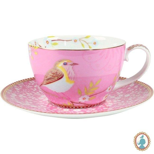 Xícara Chá Bird Rosa Floral Pip Studio V