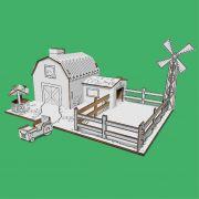 Fazenda de papelão para montar e colorir