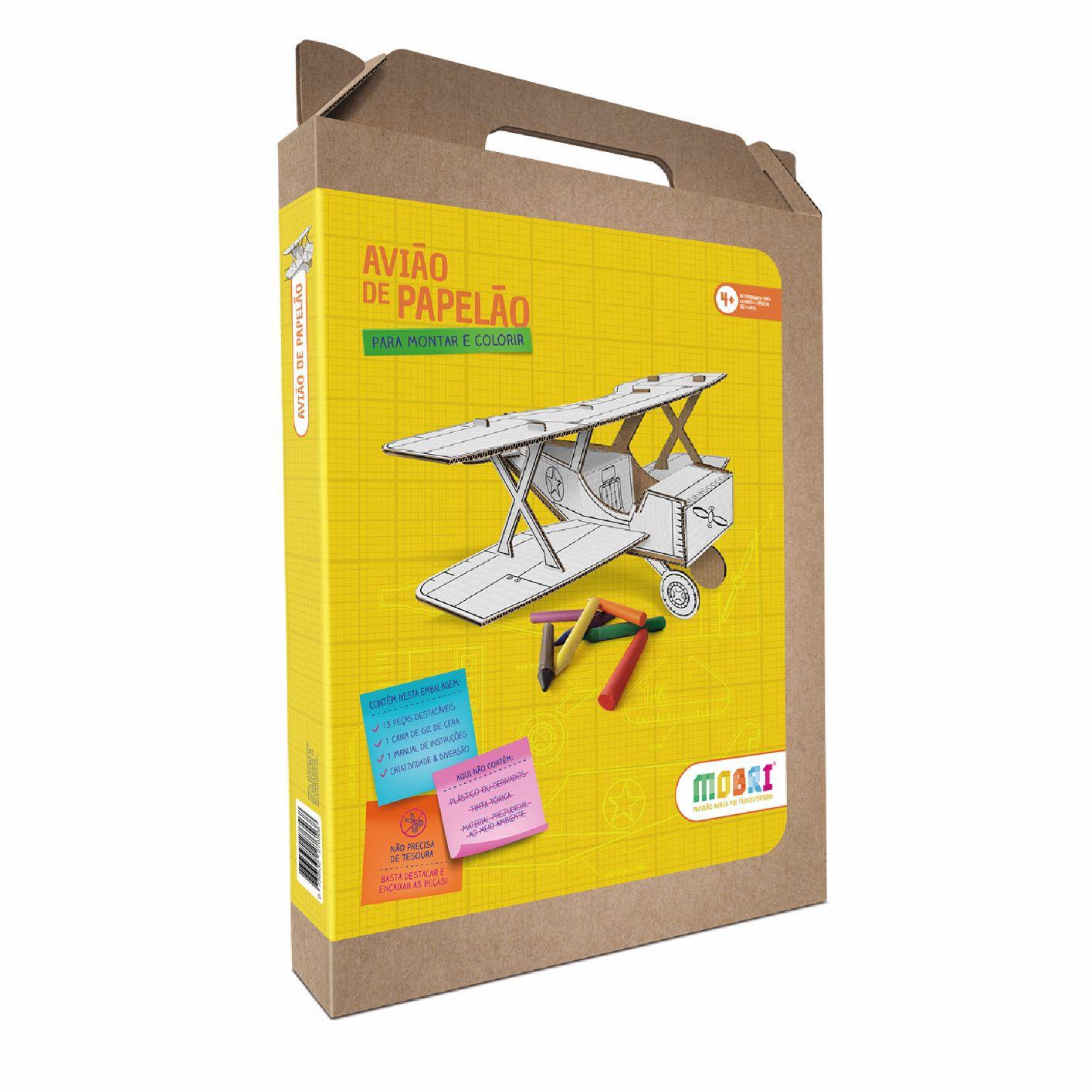 Avião de papelão para montar e colorir