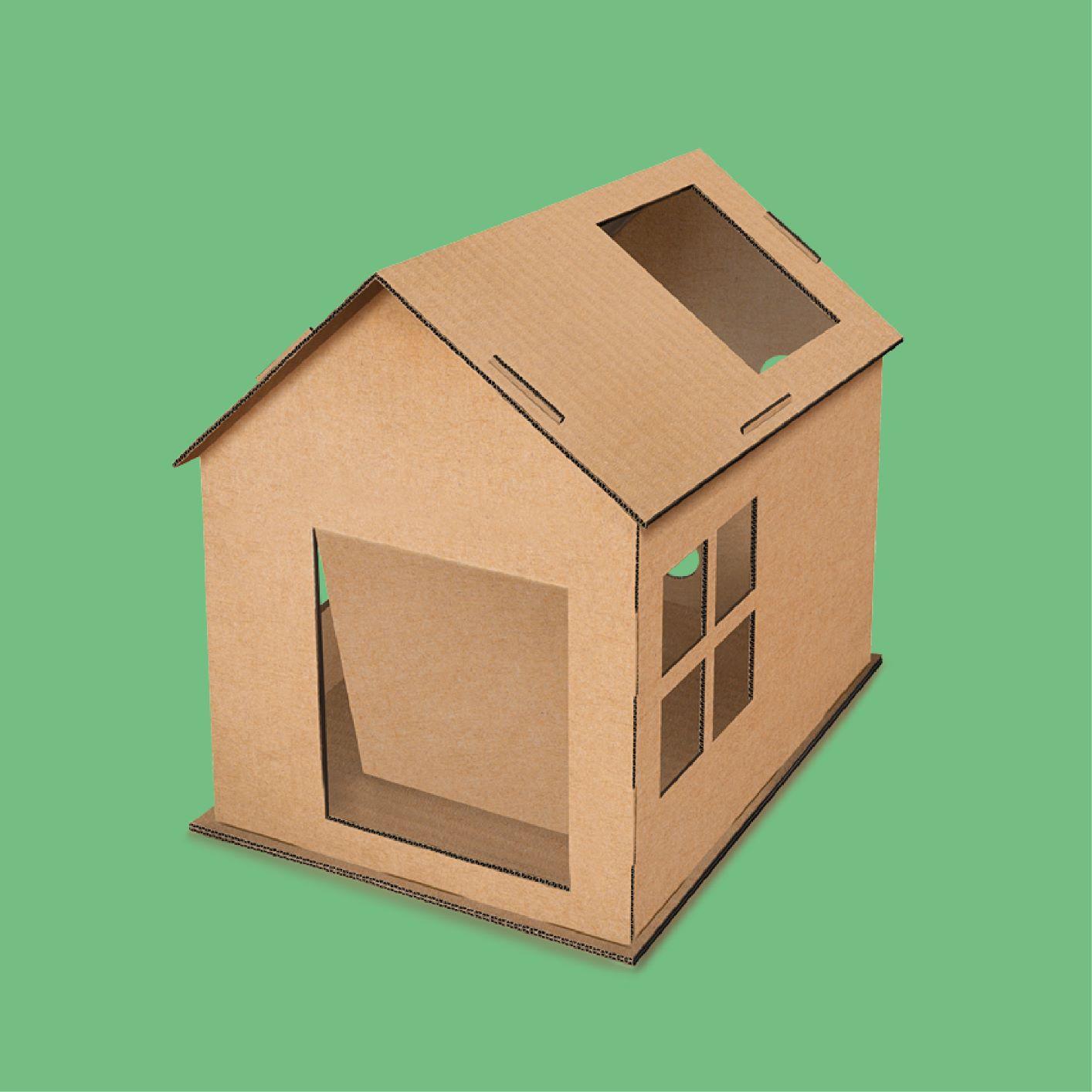 Casa de um andar de papelão para gatos