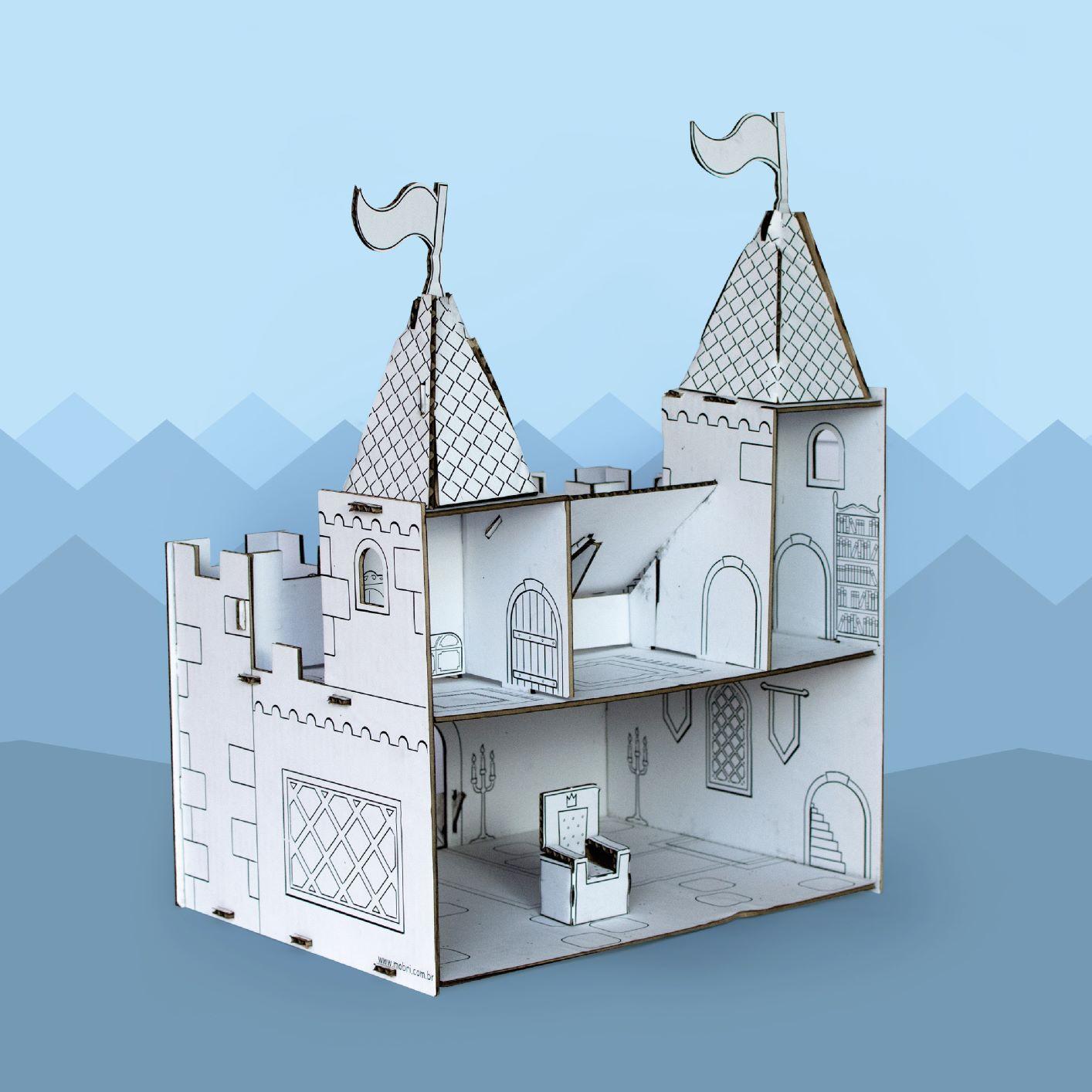 Castelo de papelão para montar e colorir