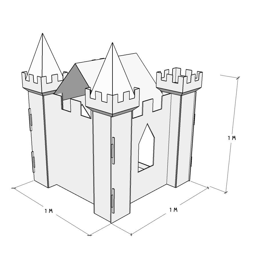 Castelo de papelão para entrar e se divertir