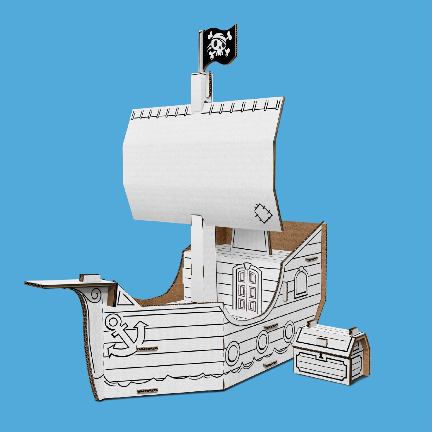 Navio pirata de papelão para montar e colorir