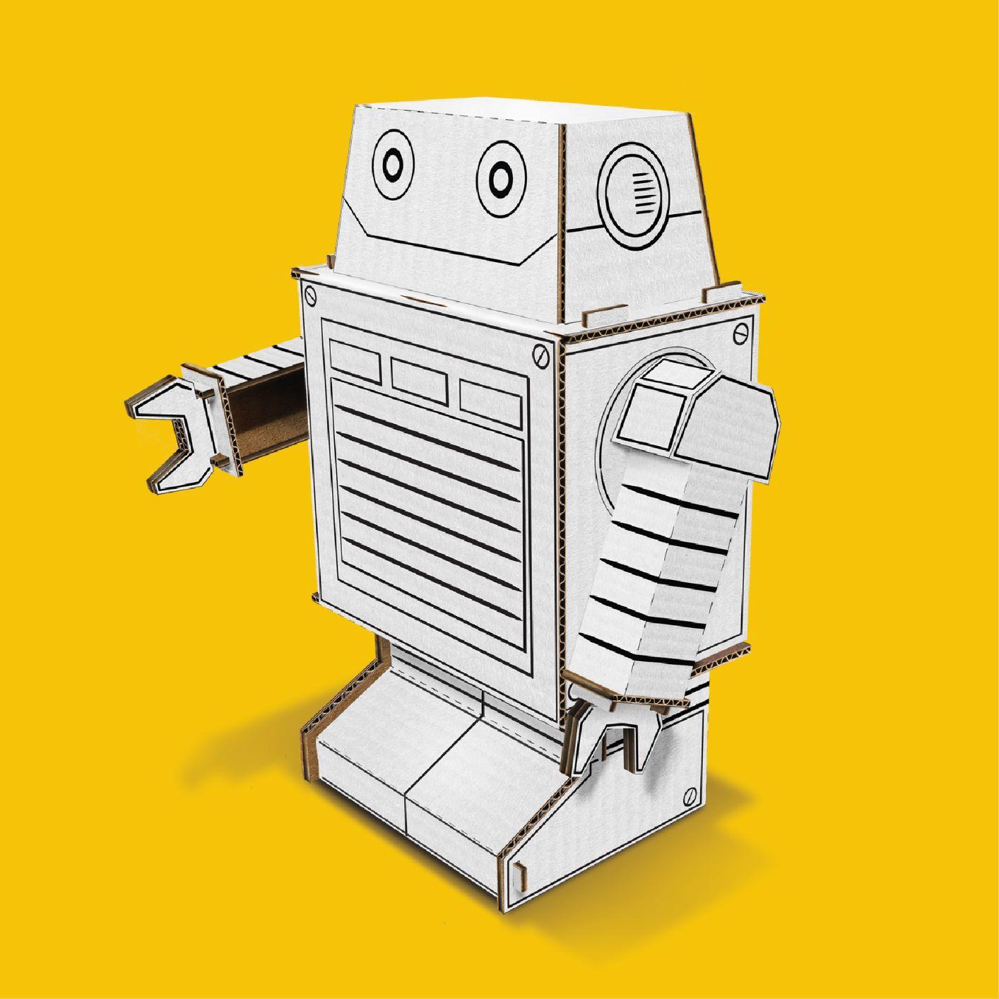 Robô de papelão para montar e colorir
