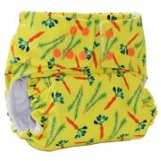 Fralda Ecológica Bela Gil Cenouras - Amarela com Forro Branco ou Preto - Bebês Ecológicos